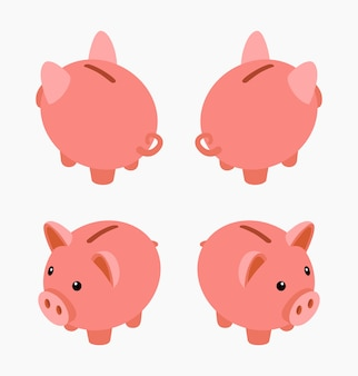 Isometric piggy bank. set of the piggy moneyboxes