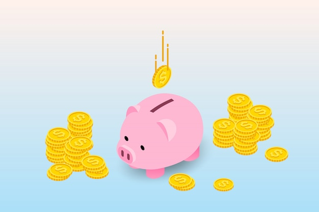 Isometric piggy bank.