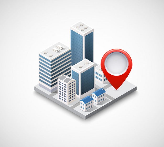 Isometric pin icon on the navigation map