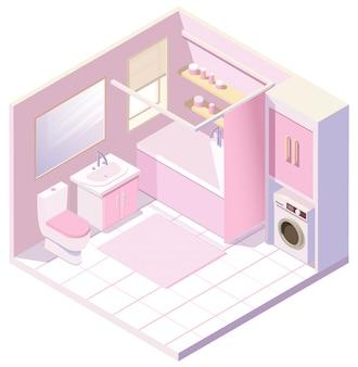 Изометрическая розовая ванная комната