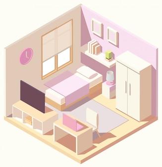 Изометрическая розовая спальня