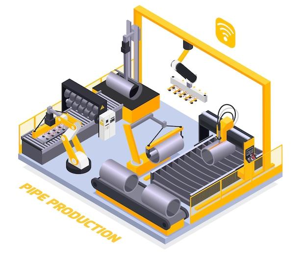 Isometric pipe production illustration