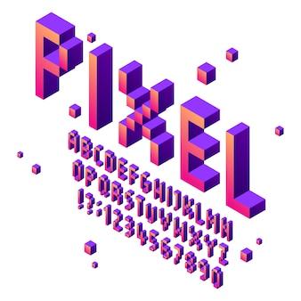 Изометрические пиксель арт шрифт. аркадная игра шрифты алфавит, ретро игровые кубические типографские надписи знак и пиксели чисел векторный набор