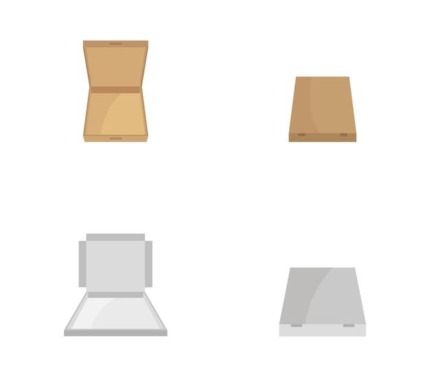 Isometric pizza box set