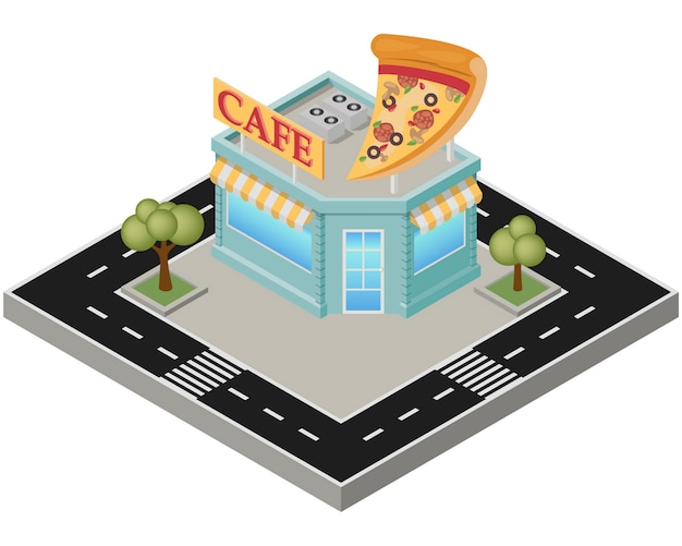 Isometric pizza cafe building with road on a white background.