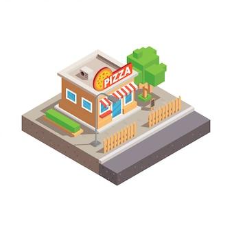 Isometric pizza shop