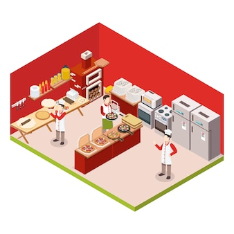 Isometric pizzeria colored background