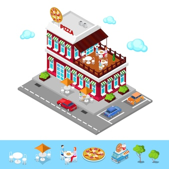 Isometric pizzeria. modern restaurant with parking zone. people in pizzeria. vector illustration