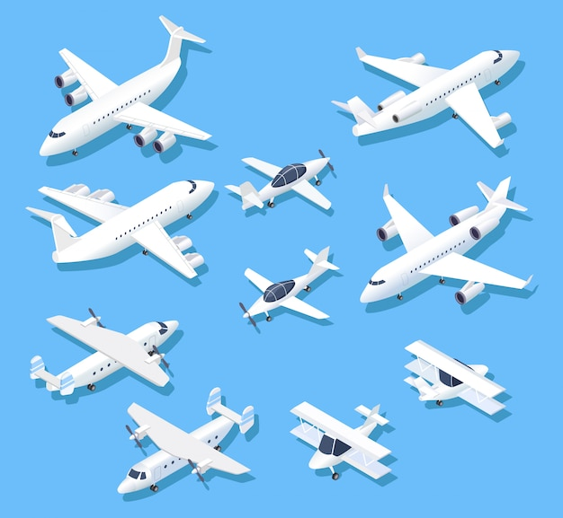 Isometric planes. private jet airplanes, aircraft and airliner. 3d aerial  set