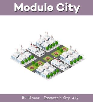 3d 차원 투영의 아이소 메트릭 플랜트에는 공장, 산업용 건물, 보일러, 창고, 격납고, 발전소, 거리, 도로, 나무가 포함됩니다. 도시 대도시의 도시 인프라.