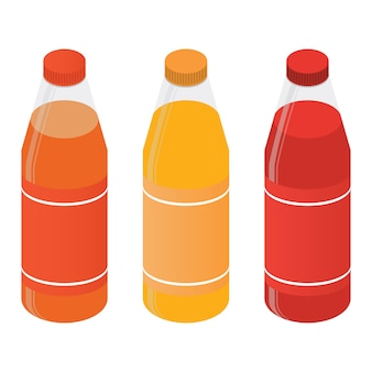 Isometric plastic bottles with juice or soda.