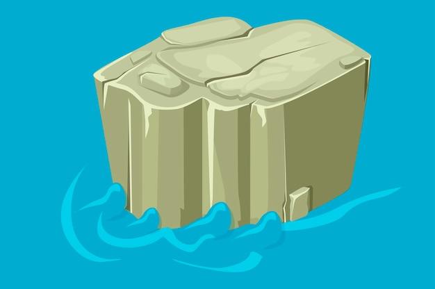 Piattaforma isometrica di roccia di pietra sull'acqua.