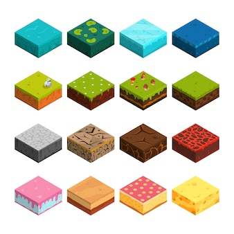 Isometric platforms set different soil textures.