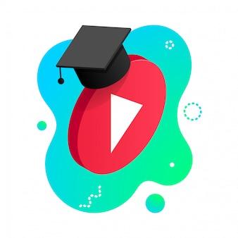 等尺性は、白い背景で隔離の卒業の帽子を持つビデオボタンを再生します。オンライン学習デザインコンセプト。流体形状の背景に遠隔教育ビデオプレーヤーアイコン。図