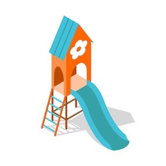 屋外家族の娯楽イラストデザインのための等尺性の遊び場の概念