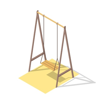Isometric playground concept for outdoor family pastime. swing. playful kindergarten.