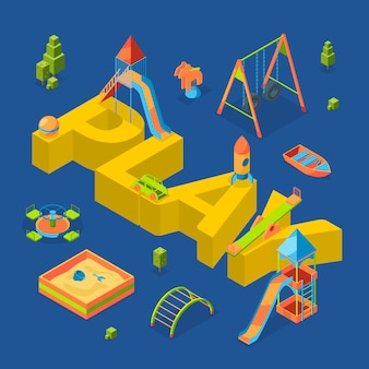Isometric playground objects around word play concept