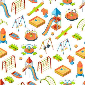 Isometric playground objects  or pattern illustration
