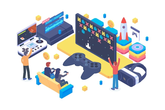 Isometric playing video game concept