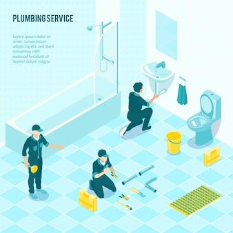 Изометрическая сантехническая бригада в униформе с установкой сантехники в туалете, душевой, ванной