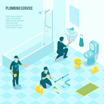 Isometric plumbing service team in uniform installing sanitary in toilet shower bathroom