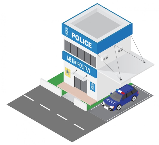 Isometric police department building icon