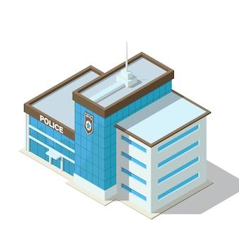 아이소 메트릭 경찰서 건물. 흰색 배경에 고립.