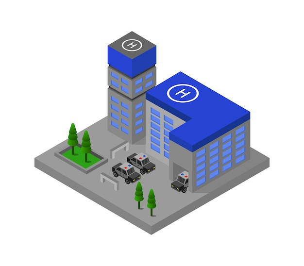 Isometric police station