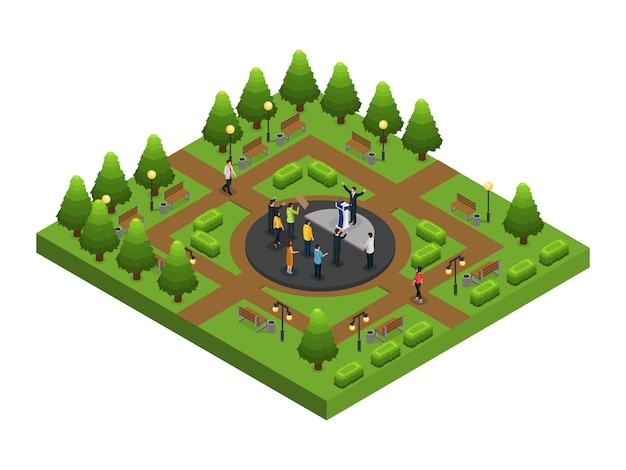 Isometric political campaign composition