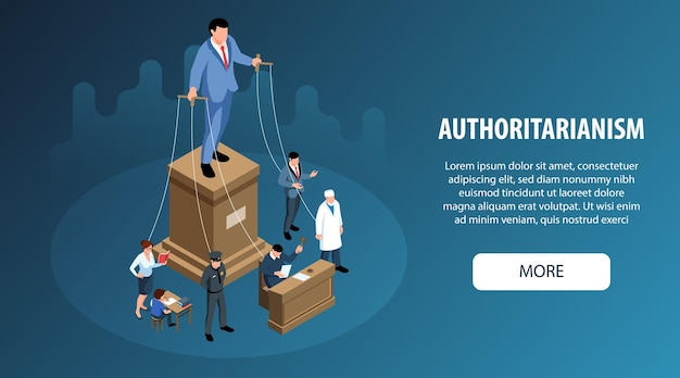 Isometric political system horizontal banner with marionette people representing branches of power illustration
