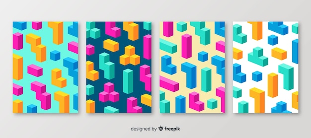 Isometric polygonal style brochure set