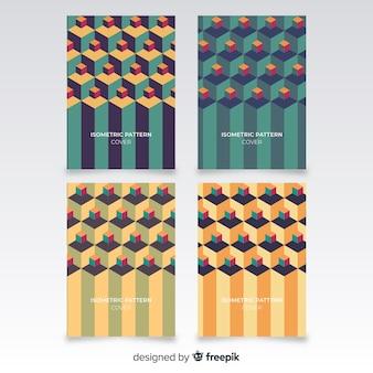 Isometric polygonal style brochure set
