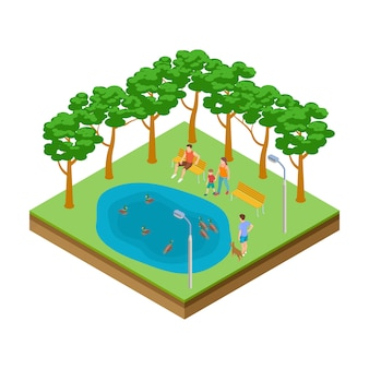 Isometric pond with ducks in the city park