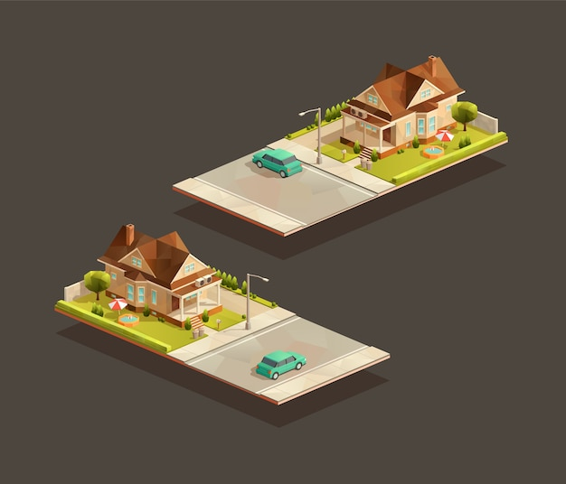 Isometric poor family house with sedan car on street