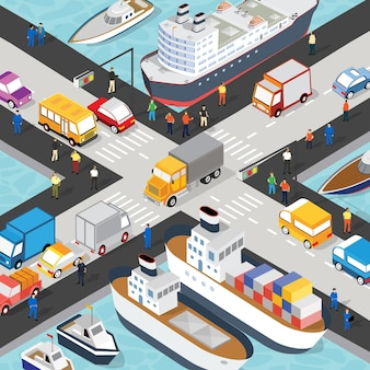 Isometric port cargo ship cargo seaport at sea with crane container transport vessel logistic