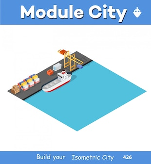Isometric port cargo ship