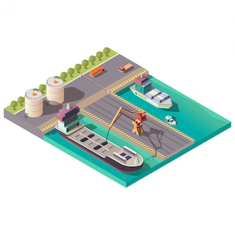 Isometric port, delivering petroleum or oil by sea