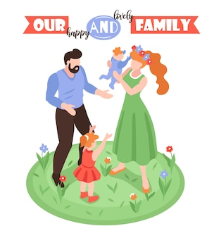 Isometric positive parenting background Free Vector
