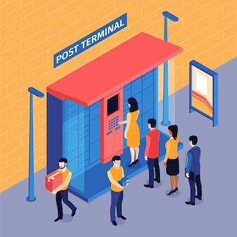 Composizione isometrica della coda del terminale post con vista esterna delle persone in fila per l'armadietto automatizzato