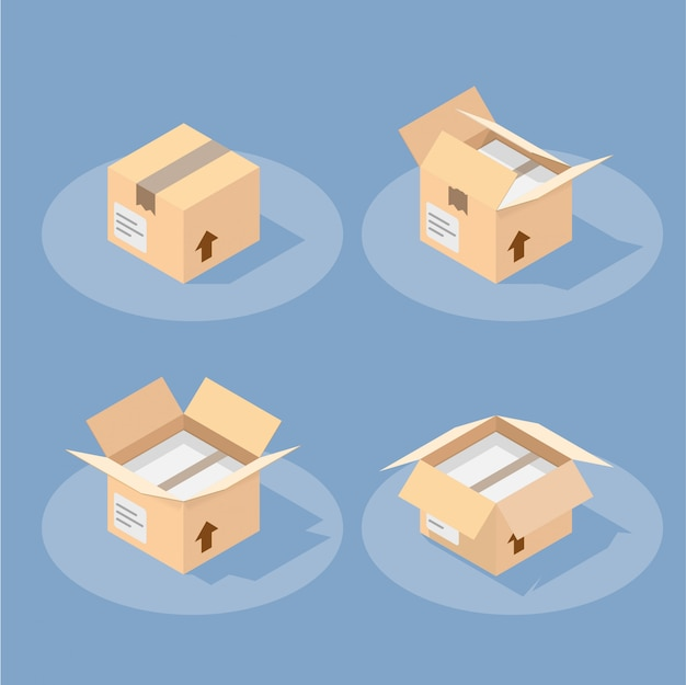 Isometric postal package filled