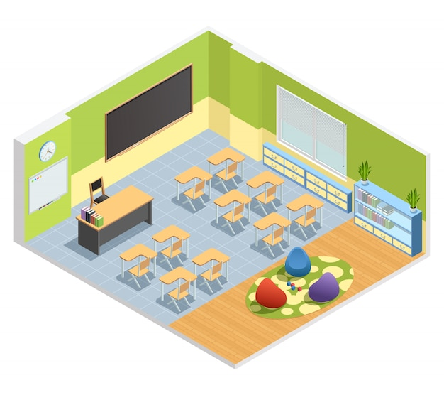 Isometric poster of classroom with chalkboard table for teacher students desks