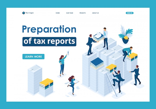 Isometric preparation of tax reports, tax agents check the documents landing page