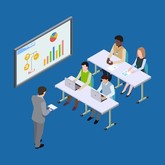 Isometric presentation at the economic forum, economics lesson or business conference illustration