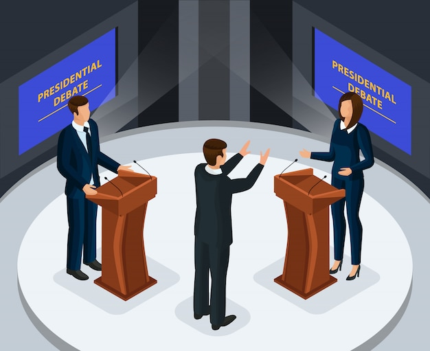 Изометрические президентские дебаты концепция
