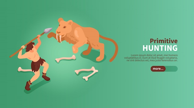 Isometric primitive people caveman banner with text slider button images of human and sabre toothed tiger  illustration
