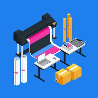 Isometric printing industry illustration