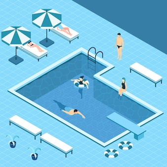 Isometric private pool