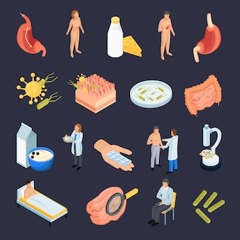 Isometric probiotics icons collection