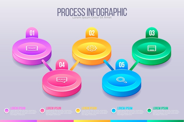 Шаблон инфографики изометрического процесса