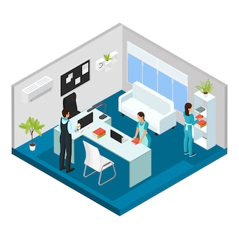 Isometric professional cleaning service concept